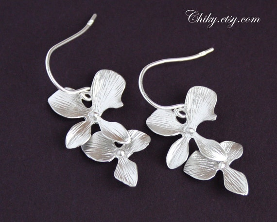 Double Orchid flower earrings - Sterling silver, wedding bridal jewelry, bridesmaid gifts favor, graduation, lovely elegance