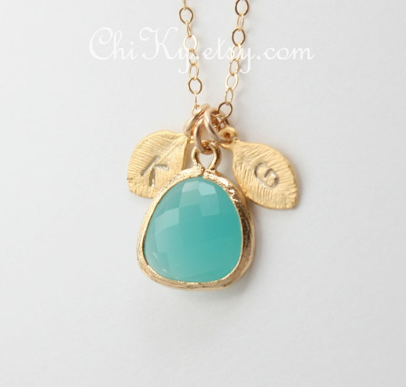 Mom's necklace, Initial leaf with Aqua Stone in bezel- Gold, Customized letter, family necklace, Mother's Day, birthday gift for mom,for her