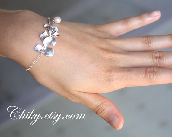 Triple orchid bracelet with Pearl -Wedding Jewelry Bracelet - SILVER, wedding bridal jewelry, brides bridesmaid gift, flower girl bracelet