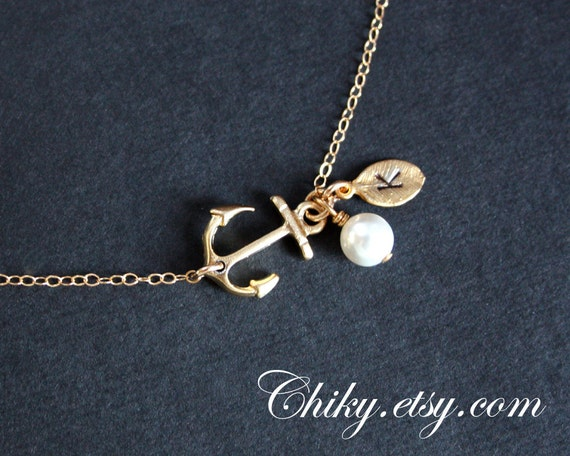 Cute and trending Gold anchor with initial leaf and pearl necklace - sailors, ocean,  navy,  birthday gifts, bridesmaids gifts