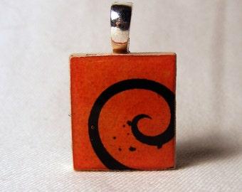 Halloween swirl Scrabble tile pendant