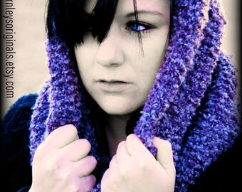 Knitted Lavender cowl scarf