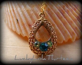 Swarovski aqua and gold necklace