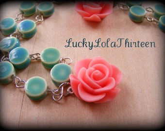 Beautiful Pink roses and aqua porcelain rosary necklace