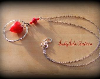 Glass and swarovski Love charm necklace