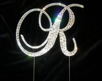 Letter R Swarovski Crystal Monogram Cake Topper