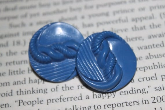 Vintage Blue Rope Button Clip On Earrings