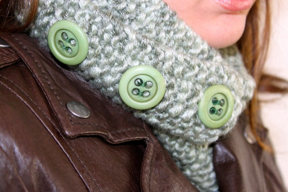 Geeky Skinny Loop Scarf with Big Buttons