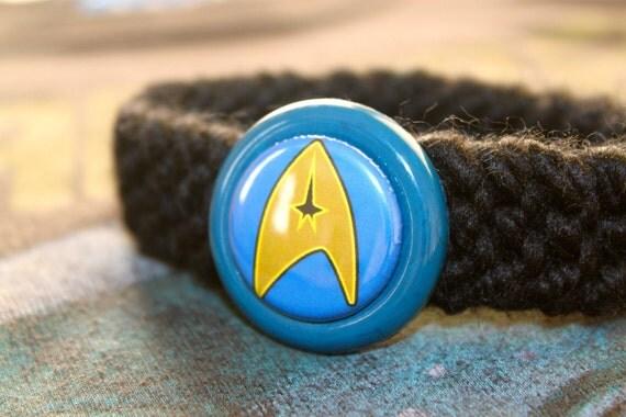 BLUE Starfleet Trekkie Kitty Cat Collar
