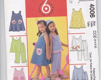 McCalls 4006 Girls Dresses, Tops and Pants Sizes 3-6