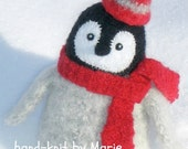 HAND-KNIT. Wool Knitted & Felted Penguin Chick