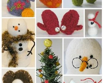 PATTERN-BOOKLET. Marie Mayhew Designs Wool Snowman Accessories Knit & Felt Pattern