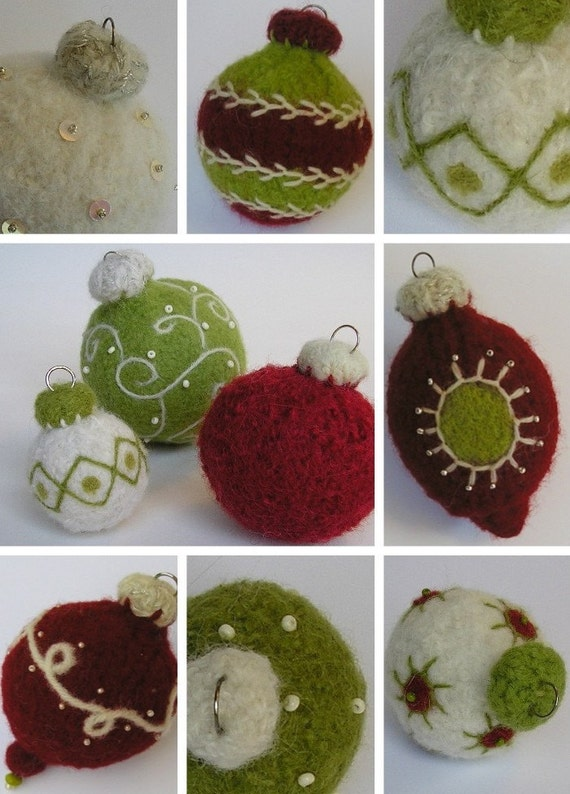 Quick Gift Idea. Wool Holiday Ornaments Knitting/Felting Pattern.