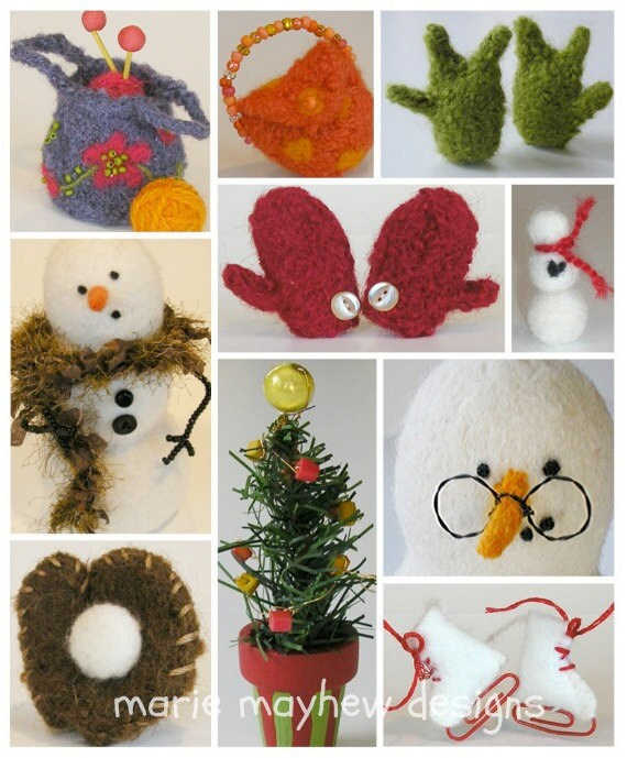 PATTERN-BOOKLET. Marie Mayhew Designs Wool Snowman Accessories Knit & Felt Pattern