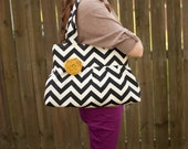 Black and Cream Chevron Zig Zag Purse The DonnaJean (Made to Order)Price doesn't include flower