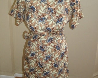 90s vintage Pier 1 Imports brown blue floral rayon wrap mini dress S