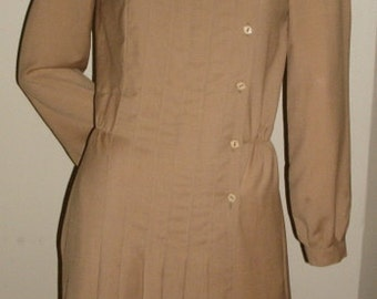 80s VINTAGE I. Magnin all season worsted wool Brian Tucker tan camel shirt Dress