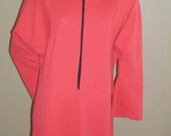 60s Vintage neon bright acid pink athleisure MOD sporty hoodie zip front side dress tunic