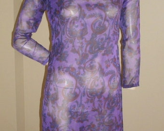 Vintage purple sheer red paisley floral Cheong-sam tunic top dress XS