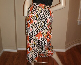 60s Vintage mod abstract geometric print midi cotton canvas skirt XS DEADSTOCK NOS   New