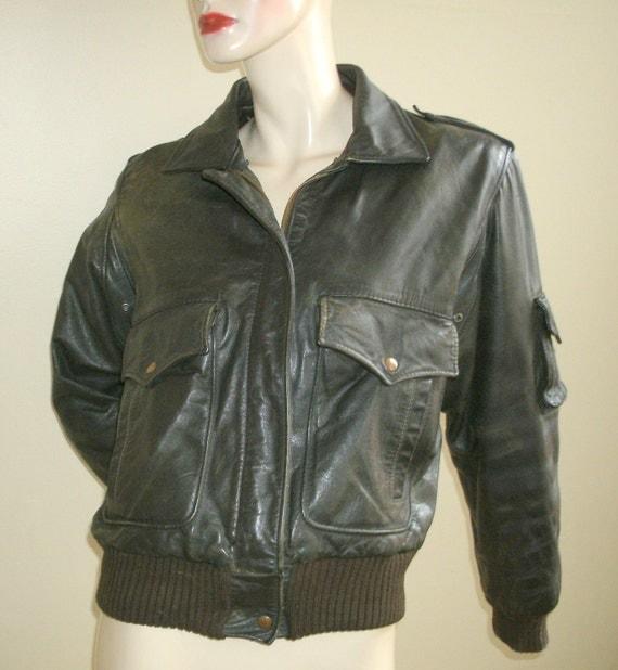 70s vintage American Express brown leather flight bomber jacket Unisex Men Women 10