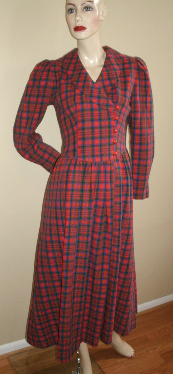80s vintage Lanz red green blue Christmas corset check plaid long maxi dress SM