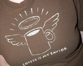 The Thomas- Coffee is My Savior - Upcycled Tshirt  - in Brown