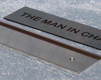 Wall Mount Nameplate Holder in Polished Silver with Custom Insert