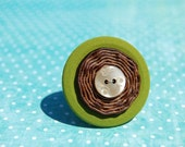 Olive Green and Wood Button Ring
