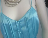 Tiffany Blue Vintage  Slip dress Nightgown From Leslie Fay Size Medium
