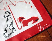 Vintage Vera Neumann Raining Cats and Dogs Square Scarf Red White Black Umbrellas