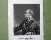 Antique 1840s Engraving Zachary Taylor with Spyglass - John Sartain