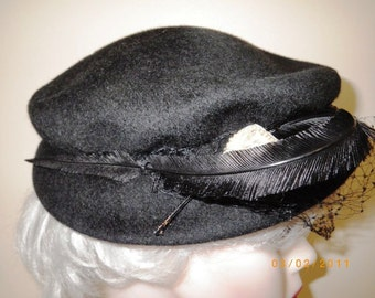 Vintage 1950s Henry Pollak Black Wool Hat Netting Feather Sequin Pearl Trim