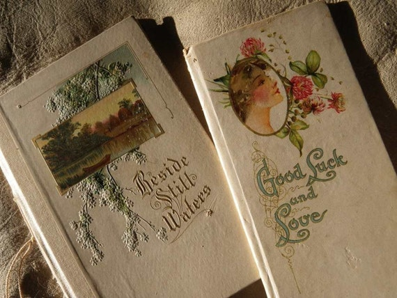 Antique 1910s Pair HAYES LITHOGRAPHING CO. Books Color Printing Poems Gilt Edwardian Ladies Buffalo New York