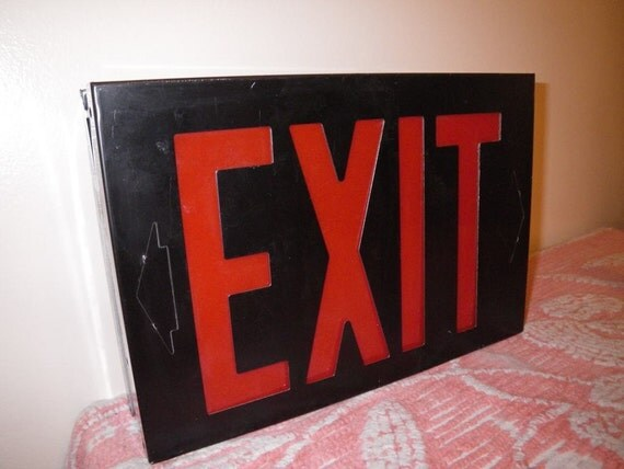 Vintage Black Steel Red Letter Exit Sign Box Never Used Night Light Nightlight Party Mood Lighting