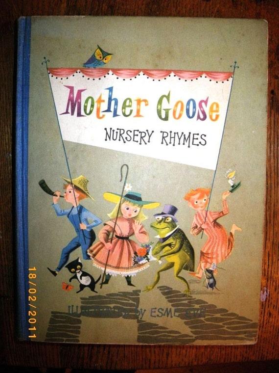 Vintage 1950s Illustrated Mother Goose Nursery Rhymes Book