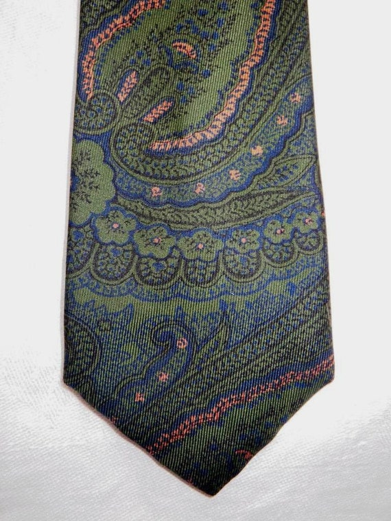 Vintage 1960s Liberty of London Skinny Paisley Silk Tie - Moss Green, Pink, and Blue