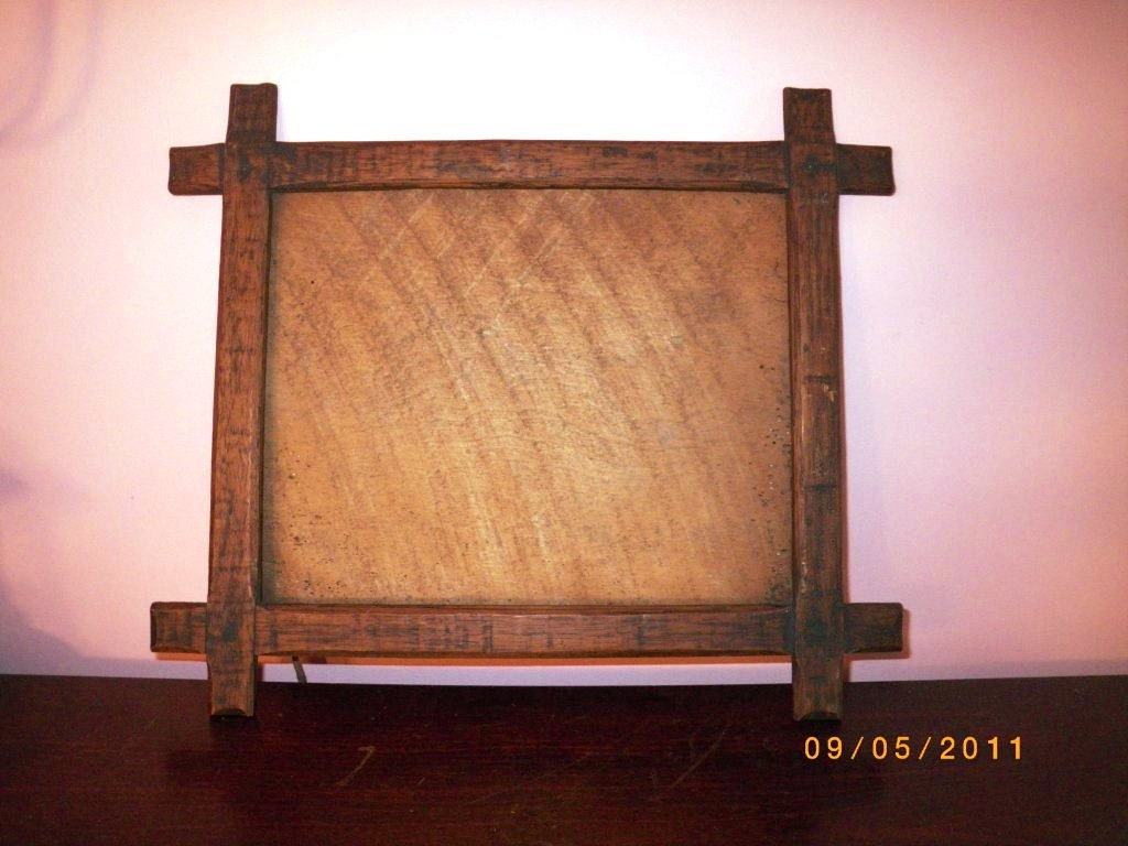 Antique arts and crafts lap joint wooden picture frame rustic for Craftsman frame