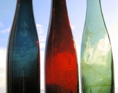 Set of 3 Truly Antique COLORFUL HOCK WINE bottles.   All American hand blown bottles from 1800's.