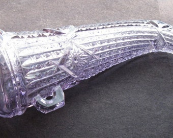 ANTIQUE glass AUTO VASE Powder Horn, sun colored purple amethyst vase - Beautiful & Original