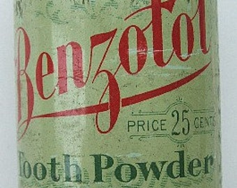 Original antique Benzotol TOOTH POWDER tin J. T. Finlen Drug Co. Butte MONTANA