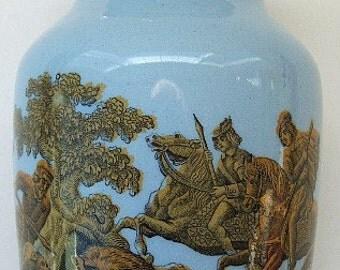 Excellent antique pottery MUSTARD CROCK w/ Wild Boar Hunting Scene scene on it - 1800s.