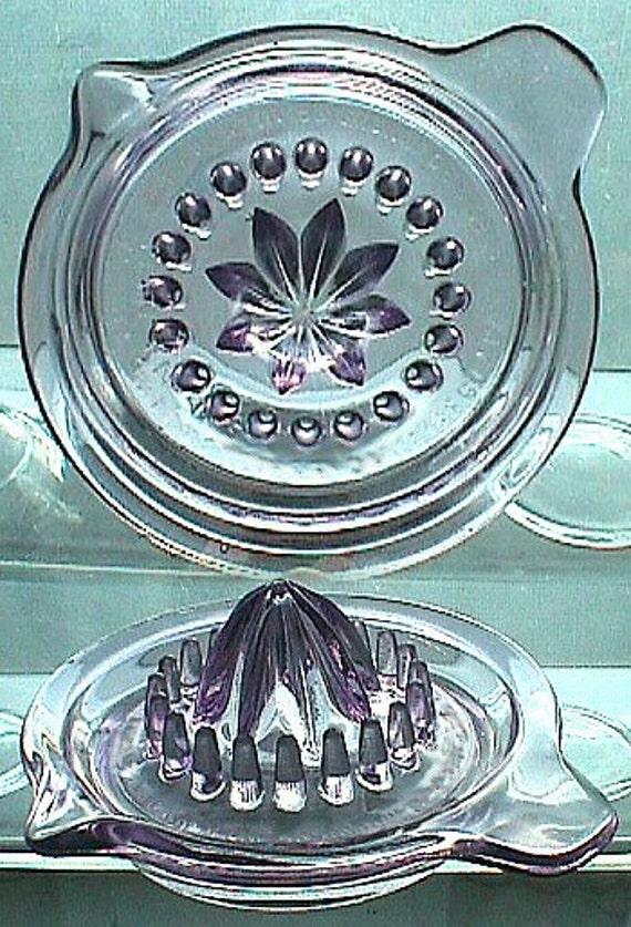 Excellent antique JUICER REAMER Sun Colored Amethyst glass