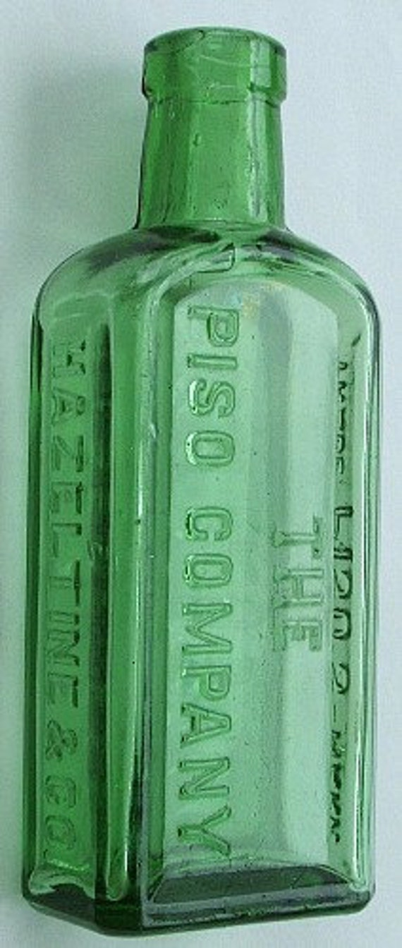 Reserved For Ed.  Deep EMERALD GREEN Piso Consumption Cure beautiful Antique QUACK medicine bottle from 1800's.