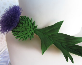 sugar Scottish Thistle cake topper a set of 3