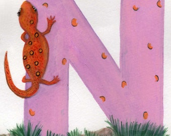 N is for Newt Painting