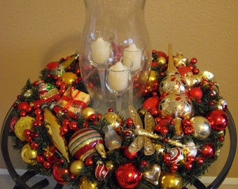 Cottage Chic Handmade Red and Gold  Christmas Wreath