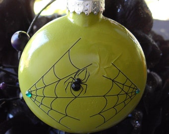 Lime Green Glass Halloween Spider Ornament