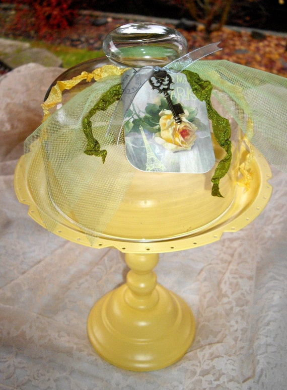 French Cottage Chic YELLOW Cupcake, Dessert or Small Cake Stand