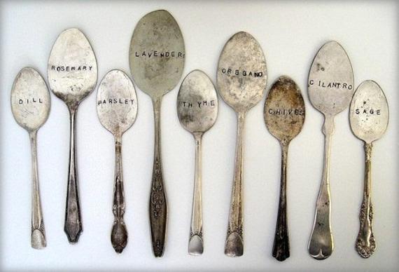 9 antique spoon garden markers set